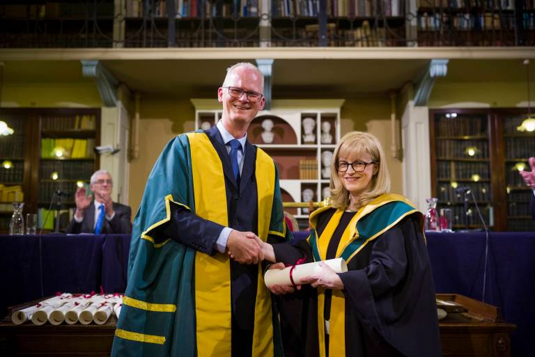 Prof Eleanor Maguire with the President of the Royal Irish Academy Peter Kennedy