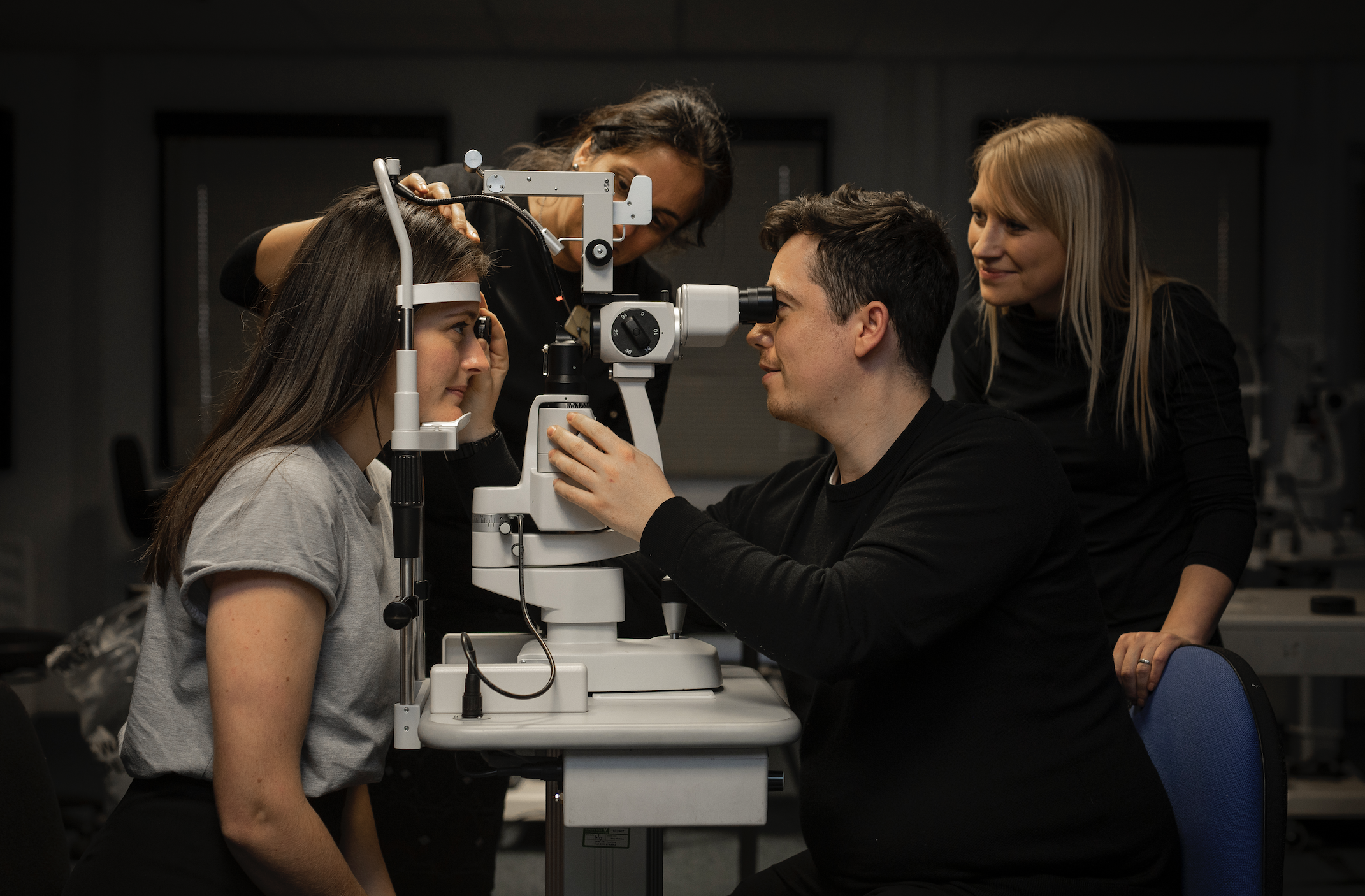 Optometrists in action at Moorfields