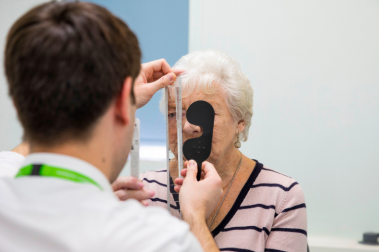 A patient at Moorfields Eye Hospital