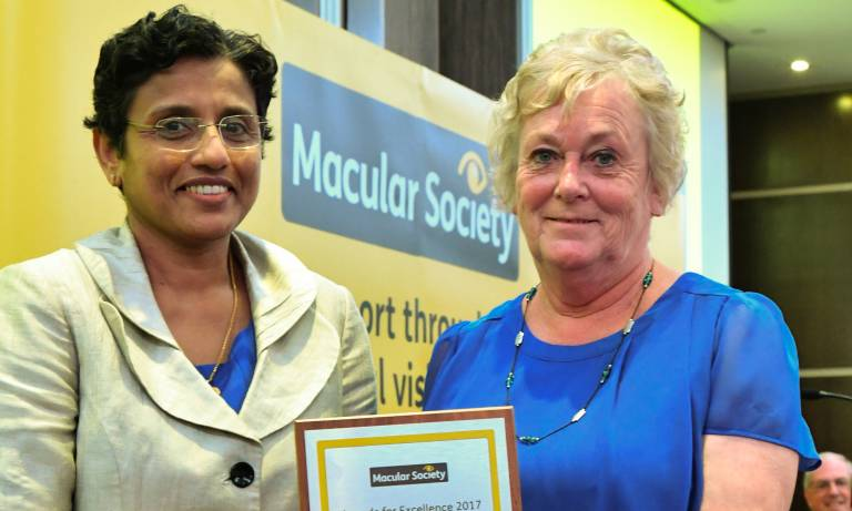 Professor Sobha Sivaprasad receiving her award