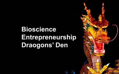 "Image of Chinese dragon with text ""Bioscience Entrepreneurship Dragons' Den"""
