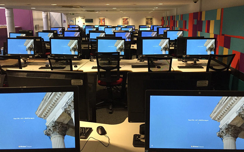 Computer room with no students