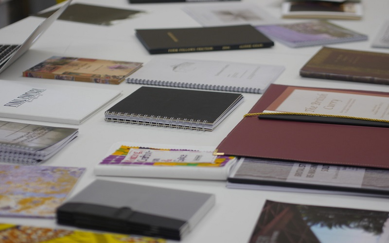 Picture of books on a table