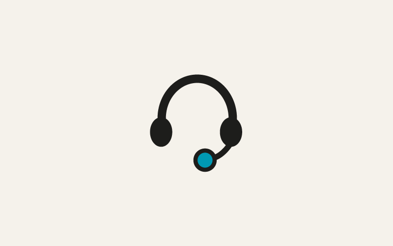 A stylised headset image indicting how to get help