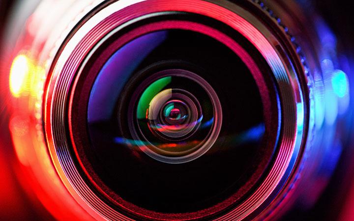 A very close-up camera lens