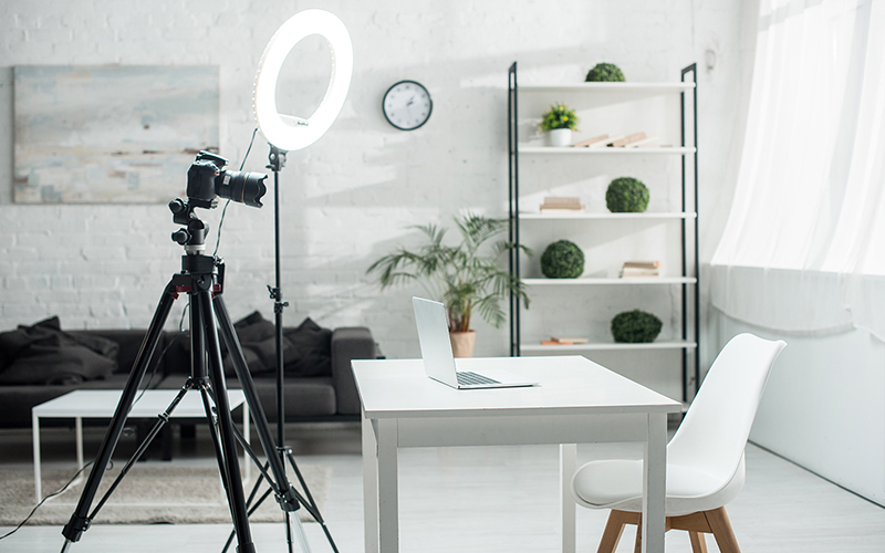 A halo light set-up for filming
