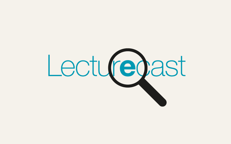 The word Lecturecast under a magnifying glass