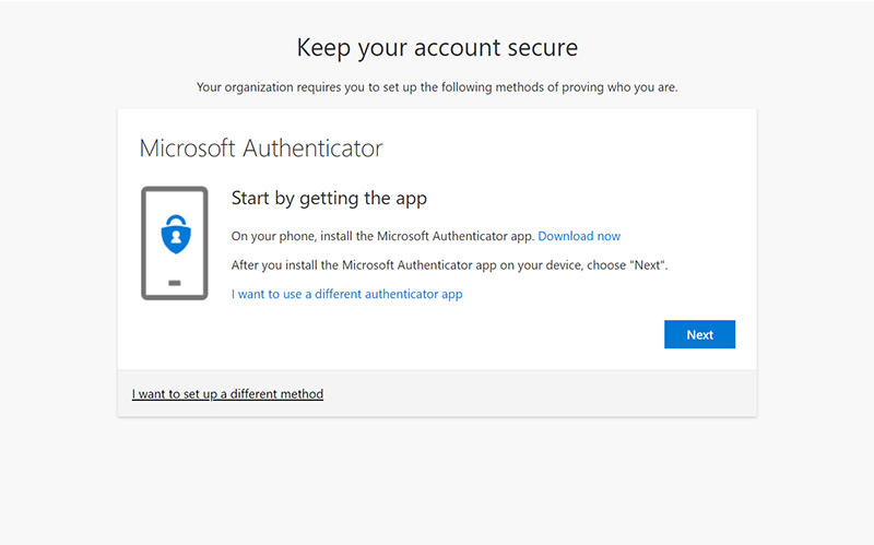 Microsoft Authenticator options