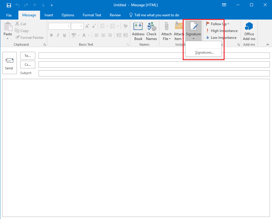 add a signature in outlook 2016 for windows