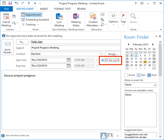 create an all day event in outlook 2013 information services
