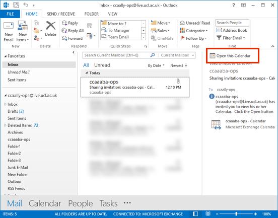 Accept a calendar share invitation in Outlook 2013