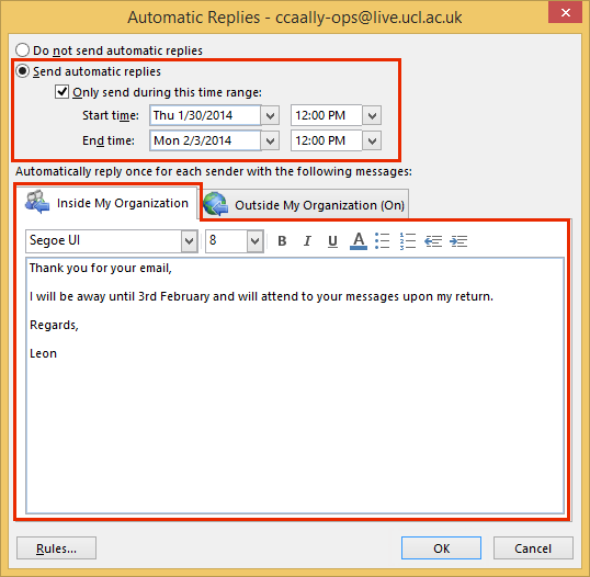 Set automatic reply out of office message in outlook 2013 for Auto reply email template