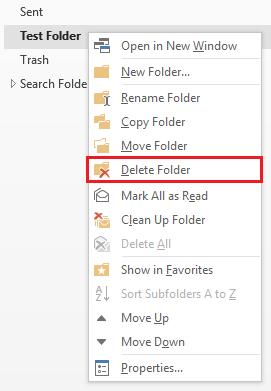 Delete a folder in Outlook 2016 for Windows   Information