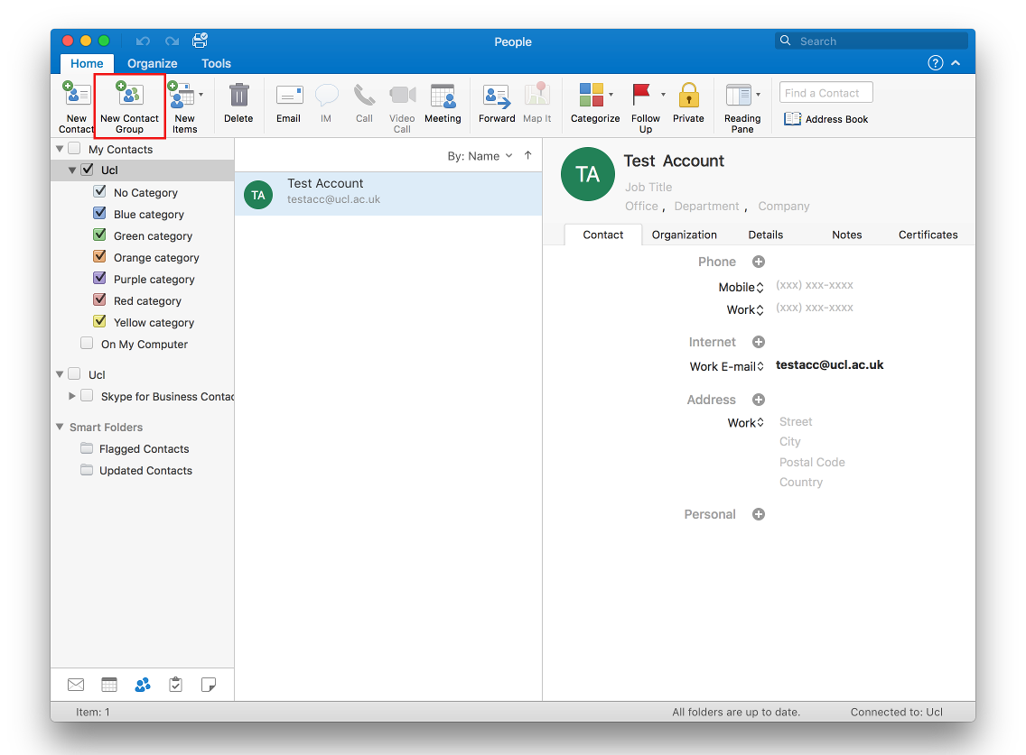 Create a Contact Group (local distribution list) in Outlook 2016 for