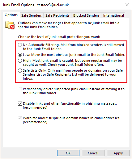 Removing junk email in Outlook 2016 for Windows