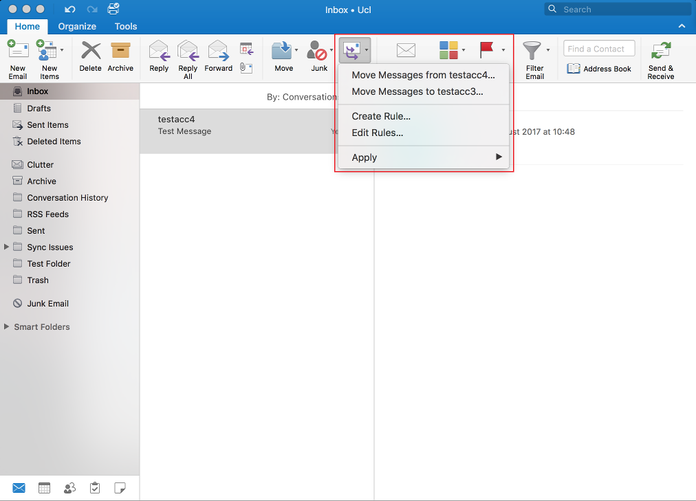 Create a message rule in Outlook 2016 for Mac | Information Services