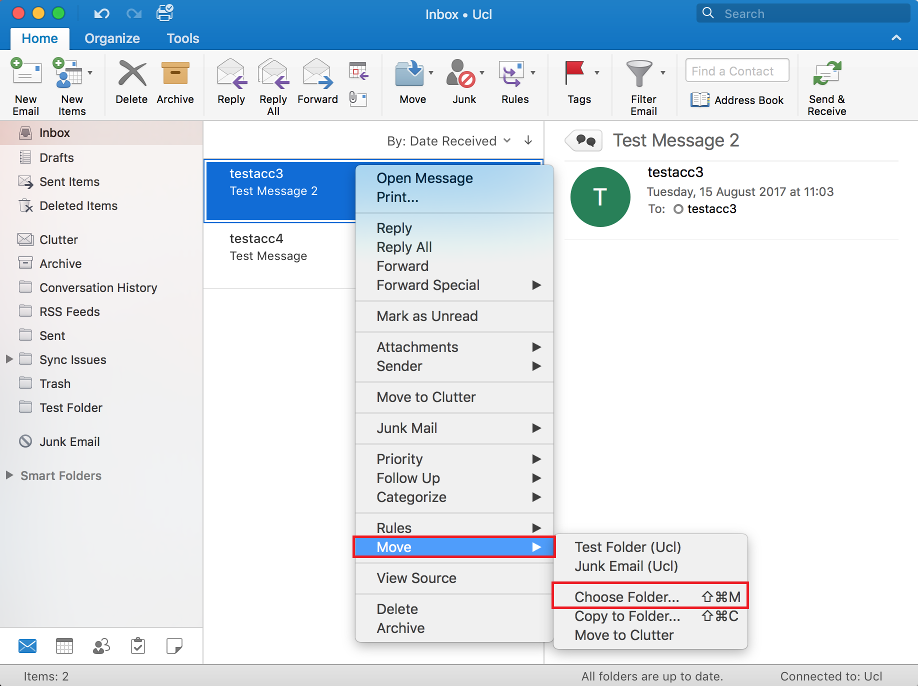 Moving email in Outlook 2016 for Mac | Information Services