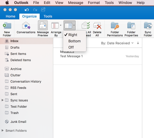 Change reading pane view in Outlook 2016 for Mac