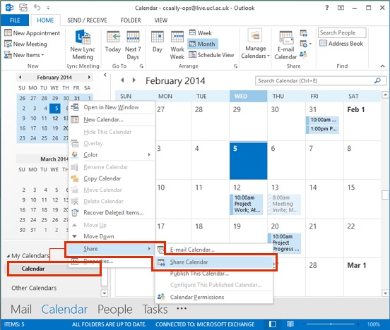 share your calendar in outlook 2013