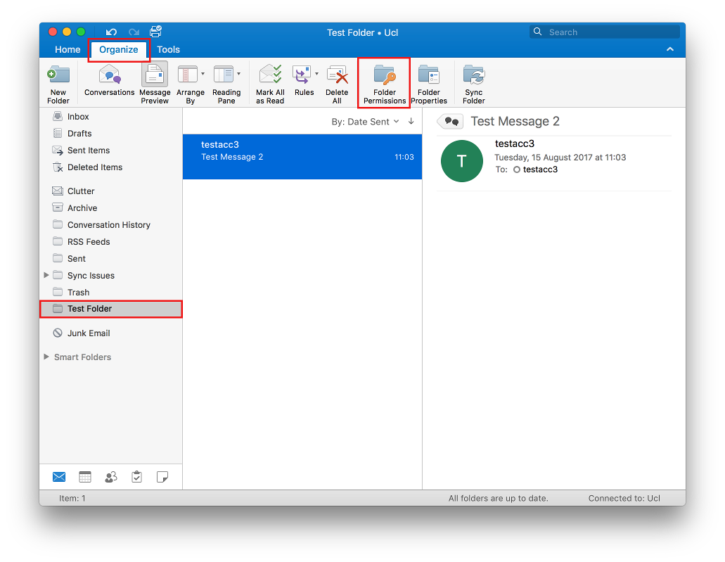 Sharing a folder in Outlook 2016 for Mac   Information