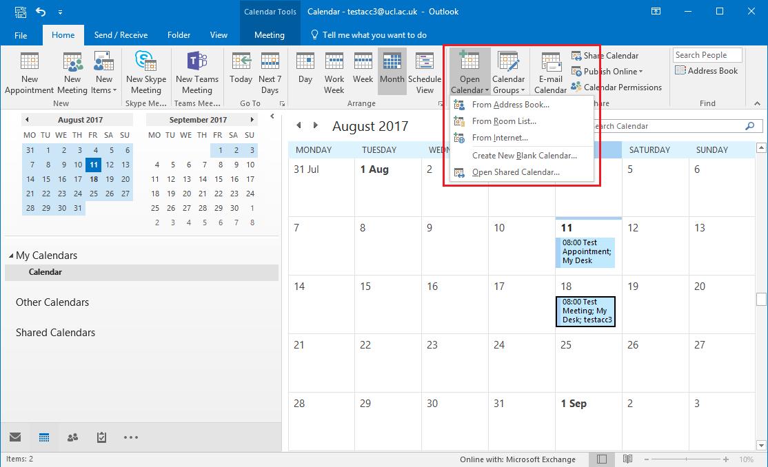 Calendar In Outlook