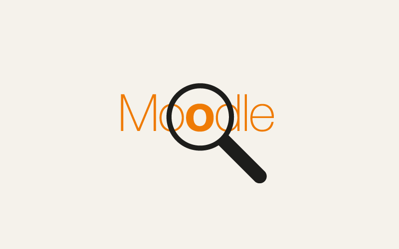 The word Moodle under a magnifying glass