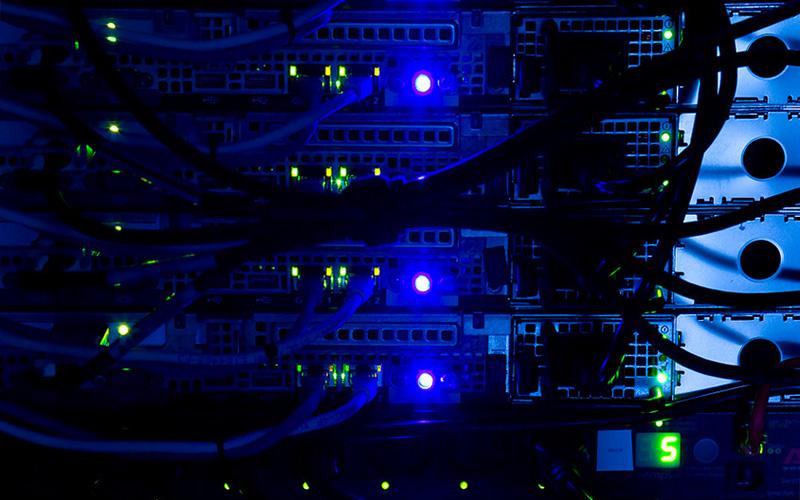 Computer server with flashing lights