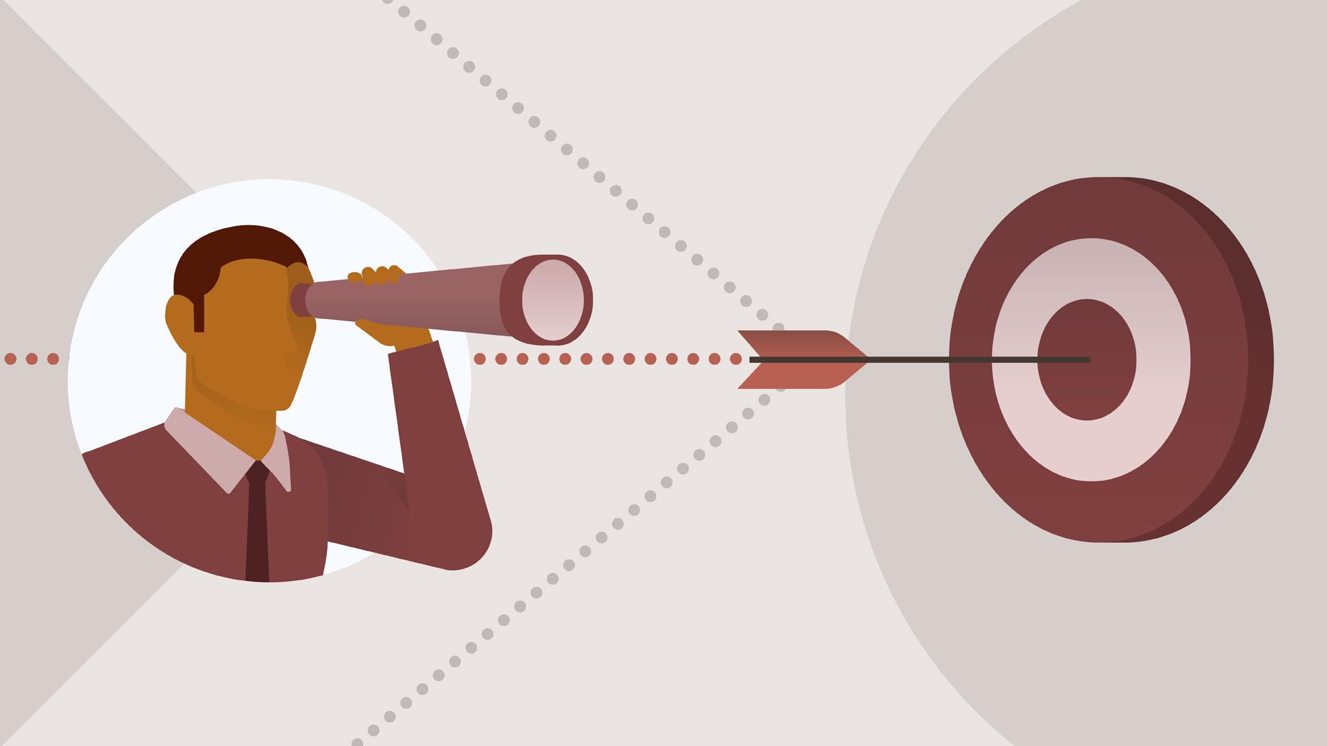 Man looking through telescope at a target