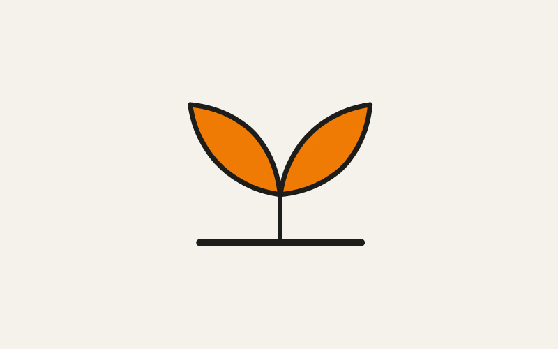 A stylised seedling to represent getting started with Moodle