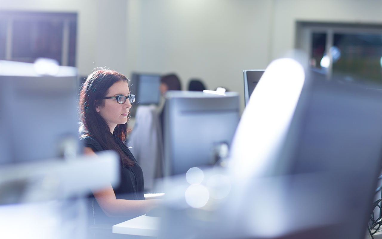 Staff member at computer