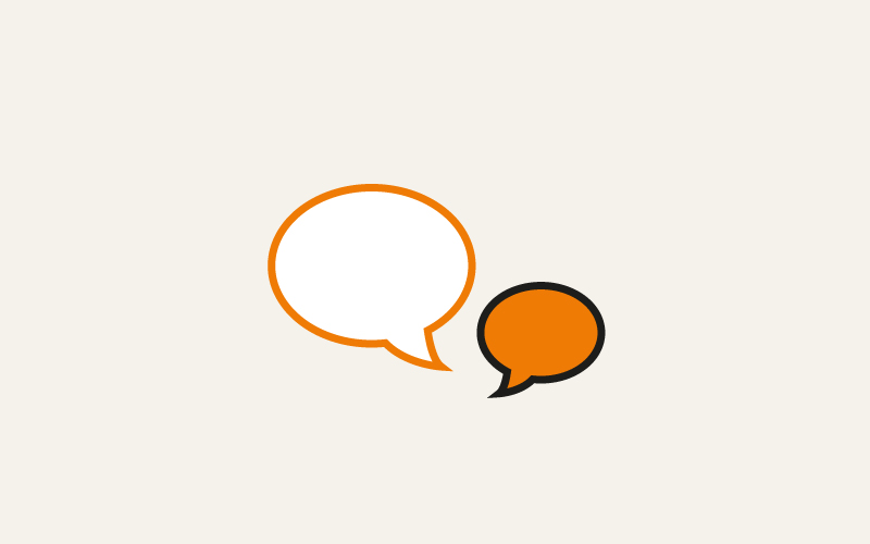 Two speech bubbles for questions and answers
