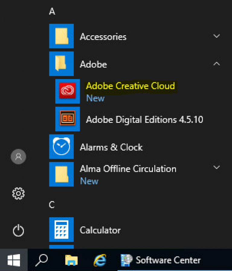 Launch the Adobe from the start menu