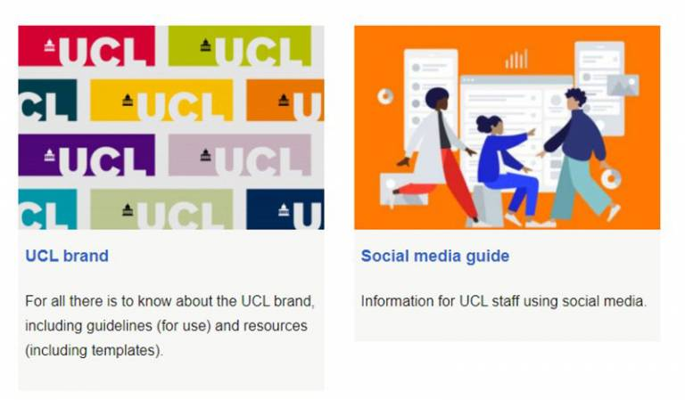 Screenshot from Communications and Marketing homepage