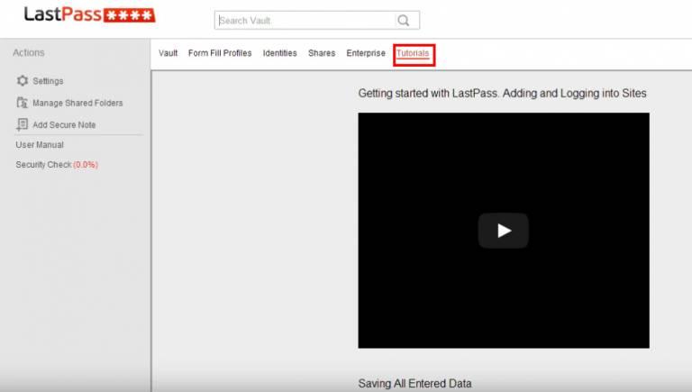 LastPass tutorial tab