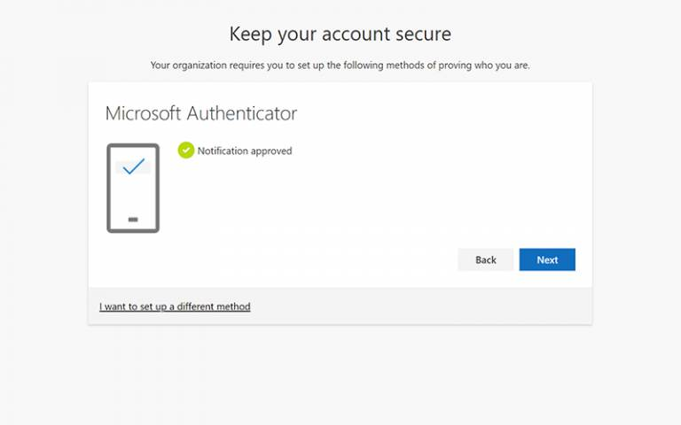 Microsoft Authenticator notification approved screen