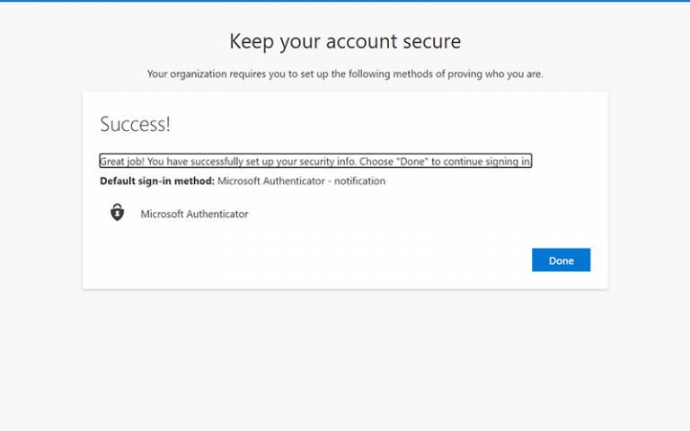Microsoft Authenticator success notification