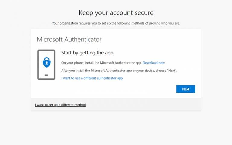 Microsoft Authenticator options