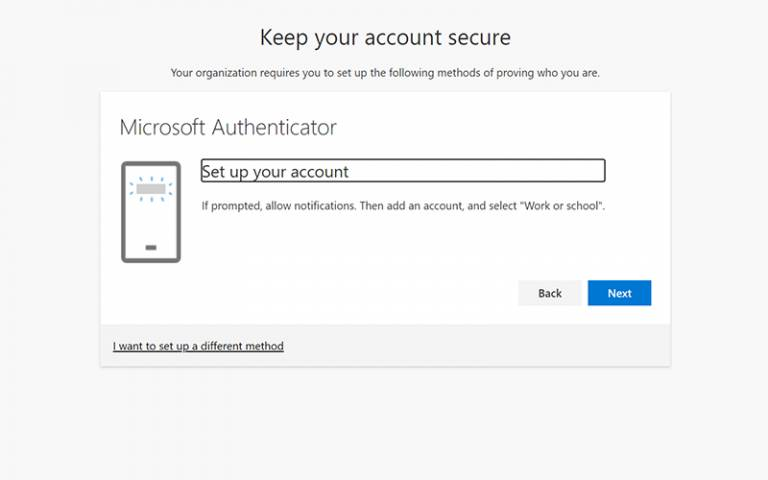 Microsoft Authenticator set up your account