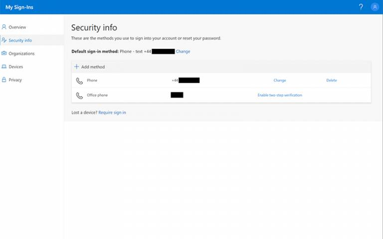 Office 365 Security Info methods