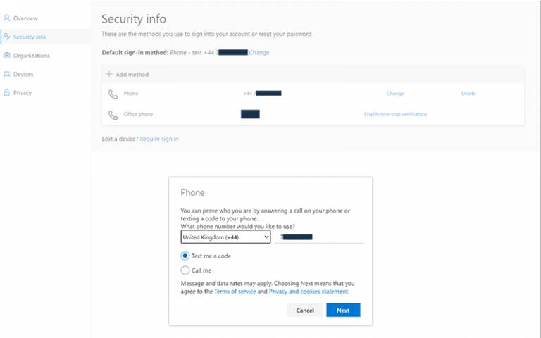 Office 365 Security Info update details