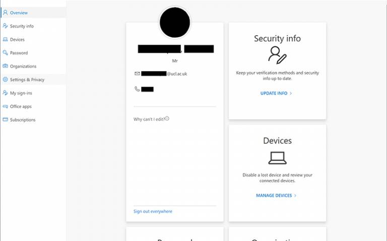 Office 365 Security Info