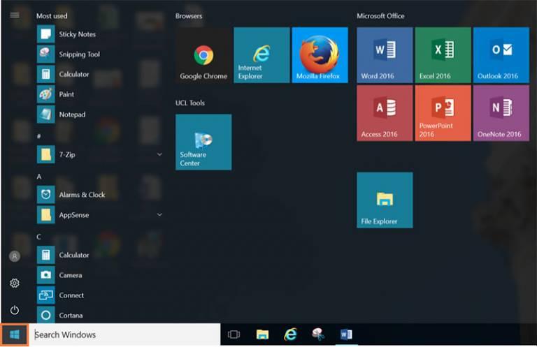 Desktop@UCL Windows 10 Start menu…