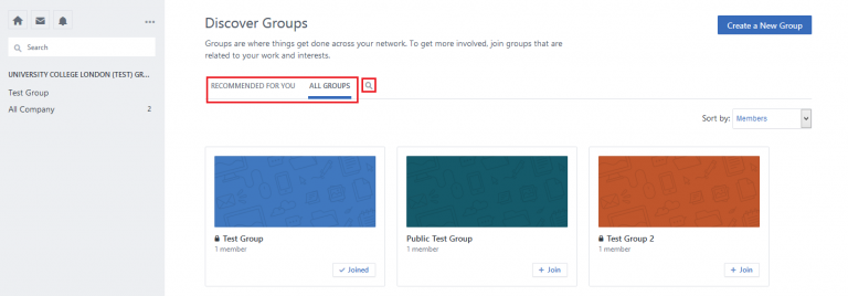 Fig 2. Group list within Yammer…