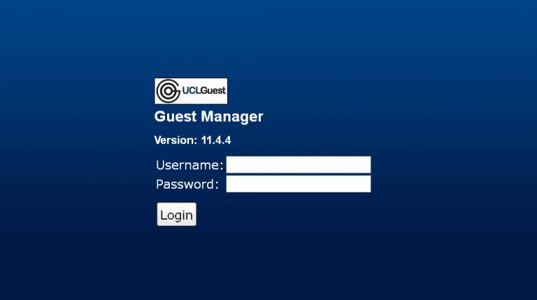 Guest manager log in screen…