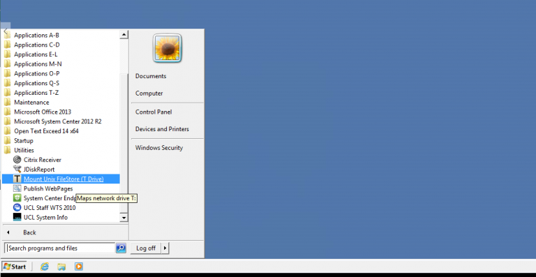 Mount T drive app on Desktop@UCL…