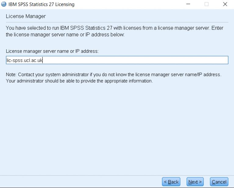 Enter license server details