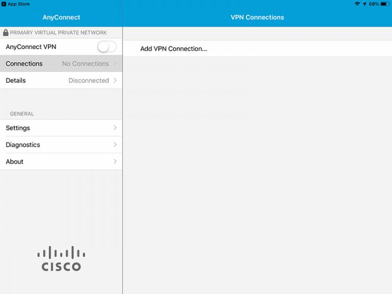 Cisco AnyConnect iOS add VPN connection