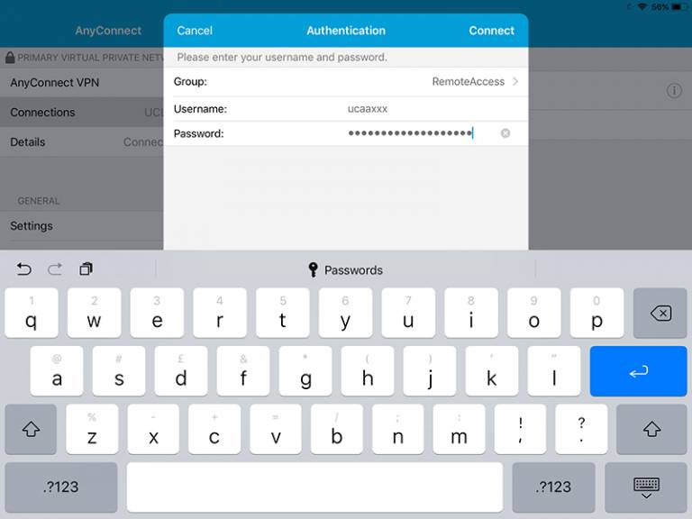 Cisco AnyConnect iOS add VPN connection authentication