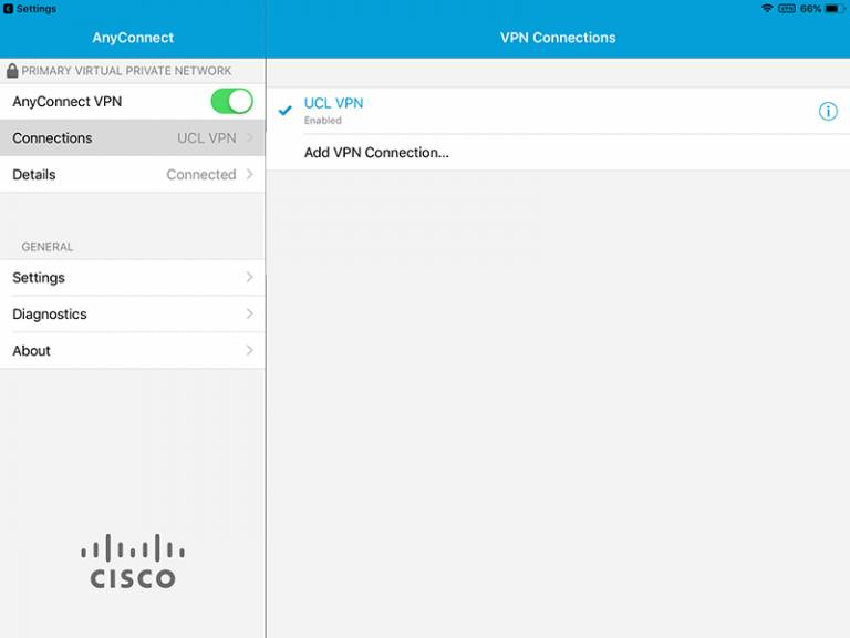 Cisco AnyConnect iOS connected to VPN