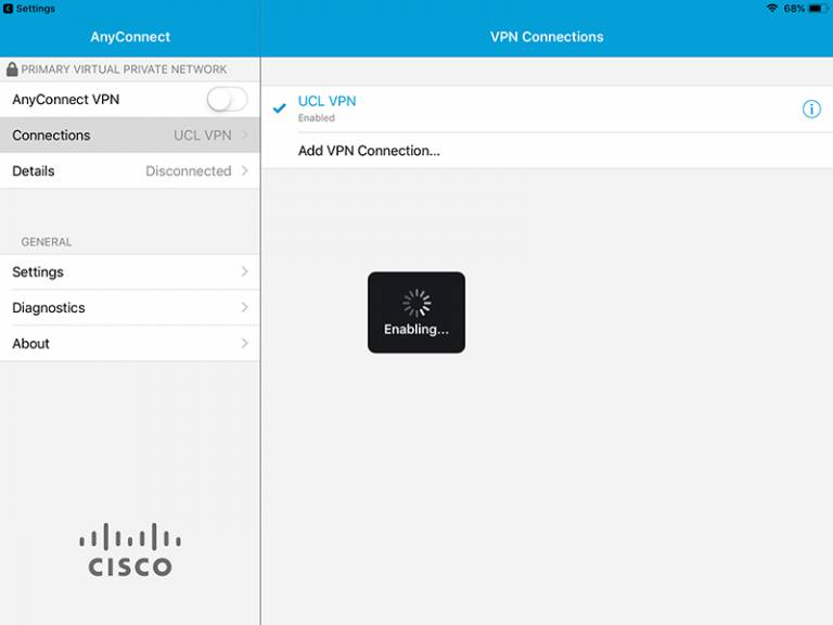 Cisco AnyConnect iOS connection enabled